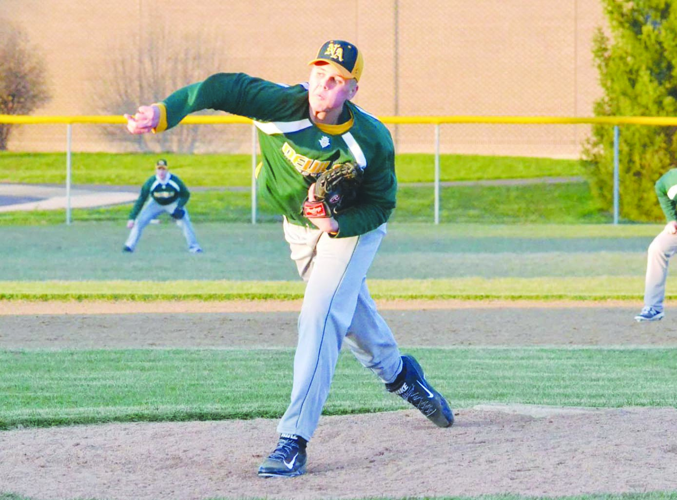 Senior right hander Trey Meade tossed a two-hit shutout and struck out 14 hitters in the North Adams 5-0 win over Manchester on April 25. Photo by Mark Carpenter