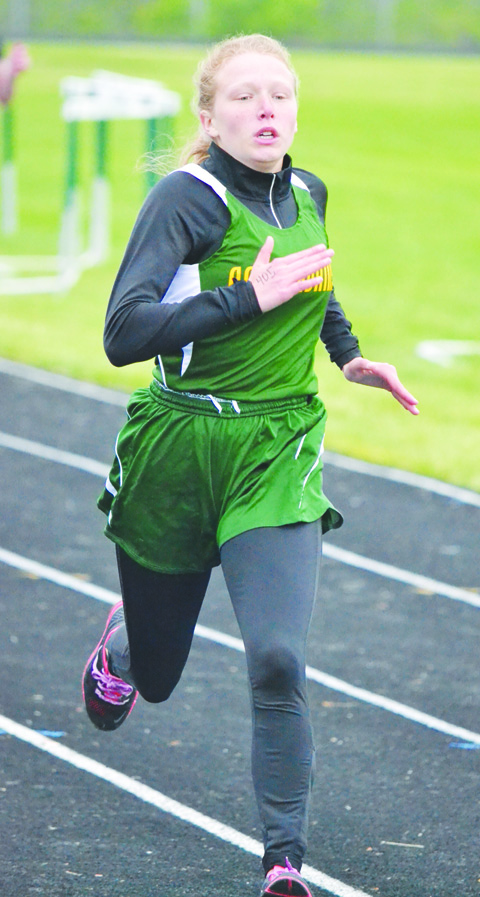 North Adams' Sara Knechtly won the Girls 400 Meter Dash at last week's Adams County Track Meet, taking the race in a winning time of 1:10.00.  Photo by Mark Carpenter.