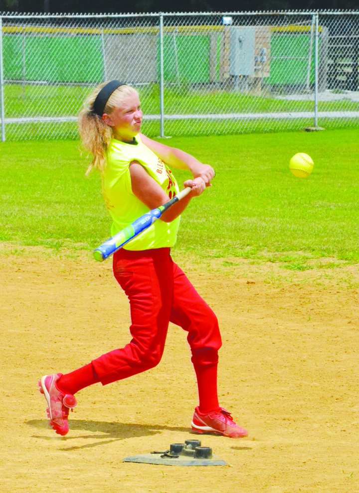 "Anna McElwee of Peebles crushed six balls over the outfield fence to claim the title of Class ""B"" Home Run Derby Champion at Sunday afternoon's SHYL festivities."