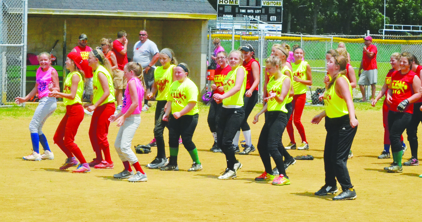 Despite the extreme heat, these young ladies were in the dancing mood as part of the festivities at last Sunday's SHYL Softball All-Star Games.