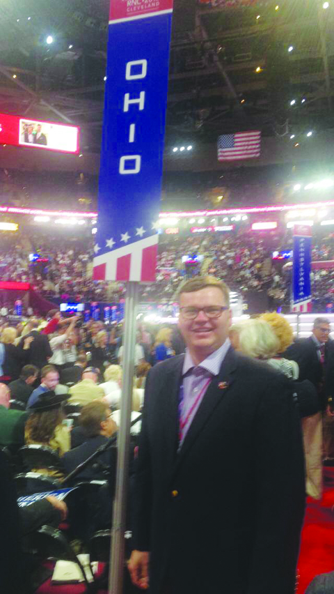 Adams County Commissioner Stephen Caraway, the youngest County Commissioner in the state of Ohio,  spent last week as part of the Ohio delegation at the Republican National Convention in Cleveland.