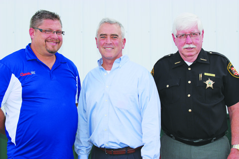From left, Church 180 Pastor Michael Parks, Congressman Brad Wenstrup, and Adams County Sheriff Kimmy Rogers.  Congressman Wenstrup was a guest on July 28 at the Sherriff's Junior Deputy Boot Camp in Seaman.  The final Boot Camp of the summer will be in West Union on August 11, 12, and 13.