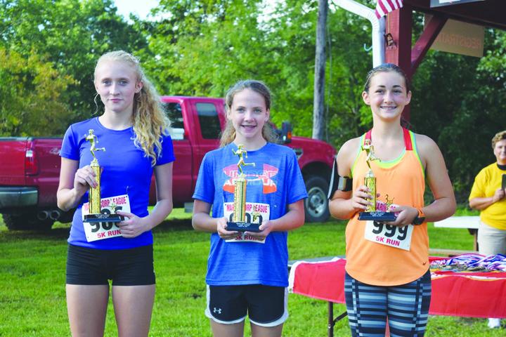 The top female runners in last Saturday's Marine Corps 5K Run were , from left, Billie Kinhalt (23.49), Keelin White (30.49), and Kaitlin Jones (31.45).