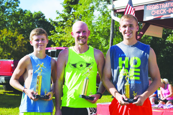 The top make runners in the 2016 Marine Corps 5K run were, from left, Ethan Pennywitt (17.486), Nathan Hauke (17.489), and Janson Kramer (19.47).