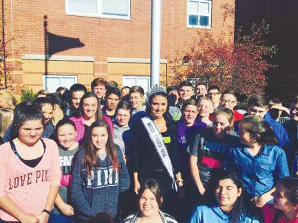 2017 Miss Ohio USA Dinaleigh Baxter made a stop this week at North Adams Junior High to share her success story and inspiration with the students.