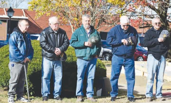 These five Vietnam veterans from Adams County were the honored guests at the DAR's ceremonies Monday commemorating the 50th anniversary of the Vietnam War.  From left, Joe Rostine, Lawrence Young, Marty Grooms, Bill Conn, and Robert Lewis.