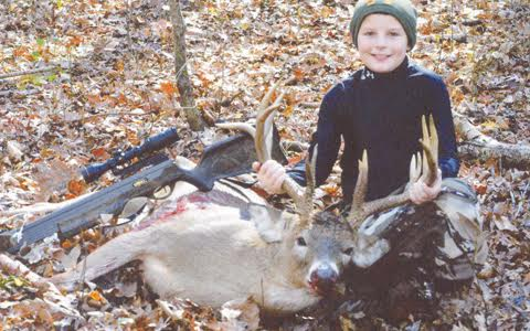 Easton Daulton, 10 years old, bagged this 15-point buck in Brush Creek Township.