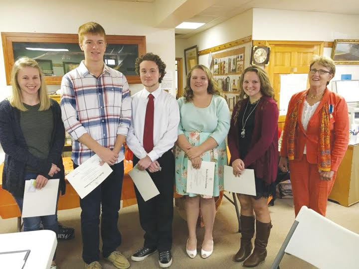 Pictured here are the 2016 recipients of the DAR Good Citizen Award.  From left, Olivia Jean Daniels (Adams County Christian School), Ryan Dryden (Manchester High School), John Michael Farrell (North Adams High School), Katie Cora (Peebles High School), Shannon Runyan (West Union High School), and Gayla Fritzhand, DAR Chair of the program and member of the Sycamore Chapter, NSDAR.